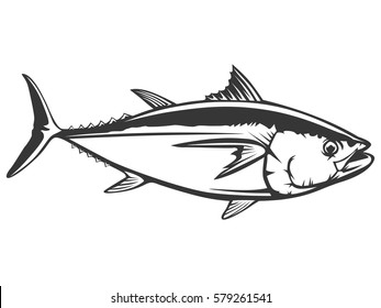 Tuna yellow fin big eye simple emlem isolated on white. Sport fishing club logo. Fishing theme vector illustration.