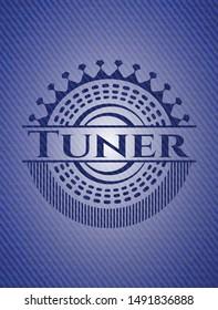 Tuner emblem with denim texture. Vector Illustration. Detailed.