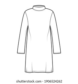 Tunic sweater technical fashion illustration with stand-away collar, long sleeves, oversized, knee length. Flat modest shirt apparel top template front, white color. Women men unisex CAD mockup