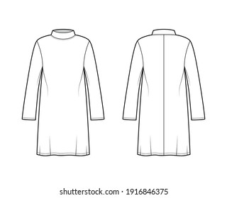 Tunic sweater technical fashion illustration with stand-away collar, long sleeves, oversized, knee length. Flat modest shirt apparel top template front, back, white color. Women men unisex CAD mockup
