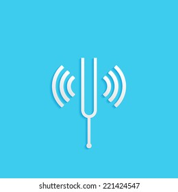 tuning fork, flat icon isolated on a blue background for your design, vector illustration