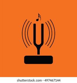 Tuning fork icon. Orange background with black. Vector illustration.