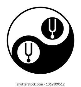 Tuning fork icon. Vector. Black and white icon inside circles of yin and yang symbol at white background.
