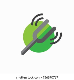 Tuning fork icon w sound wave image to show ringing