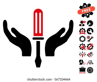 Tuning Screwdriver Maintenance icon with bonus settings graphic icons. Vector illustration style is flat iconic intensive red and black symbols on white background.