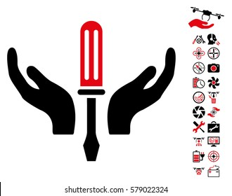 Tuning Screwdriver Maintenance icon with bonus uav service pictograms. Vector illustration style is flat iconic intensive red and black symbols on white background.