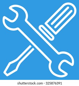 Tuning Tools vector icon. Style is flat contour symbol, white color, rounded angles, blue background.