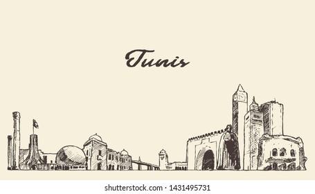 Tunis skyline, Republic of Tunisia, hand drawn vector illustration, sketch