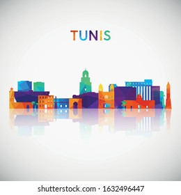 Tunis skyline silhouette in colorful geometric style. Symbol for your design. Vector illustration.