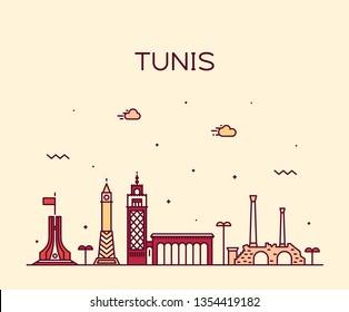 Tunis skyline, Tunisia. Trendy vector illustration, linear style