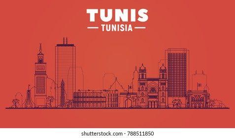 Tunis, ( Tunisia ) city line skyline vector illustration white background. Business travel and tourism concept with modern buildings. Image for presentation, banner, web site.