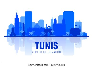 Tunis, ( Tunisia ) city silhouette skyline vector illustration white background. Business travel and tourism concept with modern buildings. Image for presentation, banner, web site.