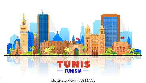 Tunis, ( Tunisia ) city skyline vector illustration white background. Business travel and tourism concept with modern buildings. Image for presentation, banner, web site.