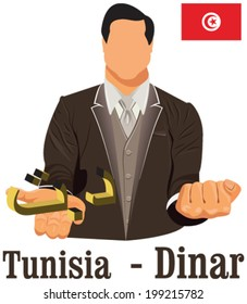 Tunisia currency symbol dinar representing money and Flag. Vector design concept of businessman in suit with his open hand over with currency isolated on white background in EPS10.