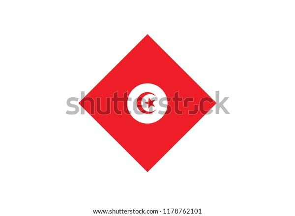 Tunisia Diamond Shape National Flag Country Stock Vector Royalty Free 1178762101