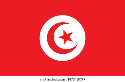 Tunisia  flag. Simple vector. National flag of Tunisia