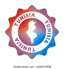 Tunisia low poly logo. Colorful gradient travel logo of the country in geometric style. Multicolored polygonal Tunisia rounded sign with map for your infographics.