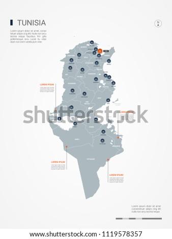 Tunisia Map Borders Cities Capital Tunis Stock Vector (Royalty Free ...