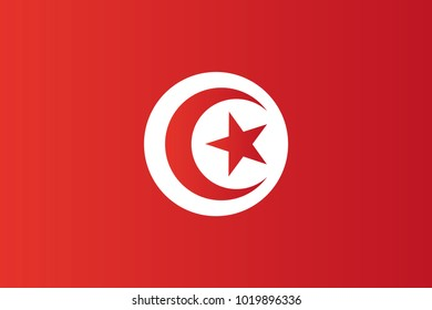 Tunisia national flag. Tunisian Republic vector illustration symbol.