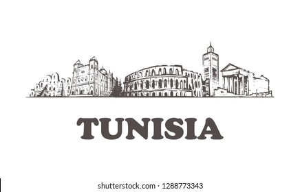 Tunisia skyline,Tunis vintage vector illustration, hand drawn buildings.Isolated on white background.
