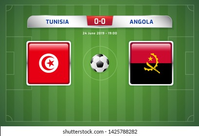 Tunisia vs Angola scoreboard broadcast template for sport soccer africa tournament 2019 Group E and football championship in egypt vector illustration