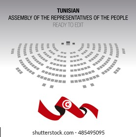 Tunisian assembly of the representatives of the people. Editable Seats. Infographic scheme.