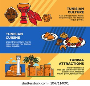 Tunisian cuisine and attractions travel agency promo posters