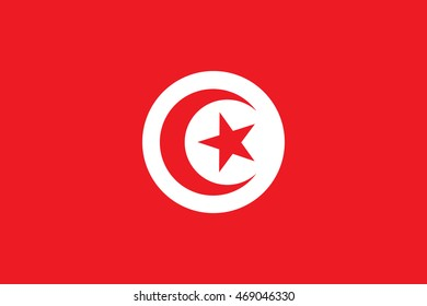 Tunisian state symbol. Rectangular banner with crescent surrounding five-pointed star in the center. Proper colors and proportions. Vector eps8 illustration.
