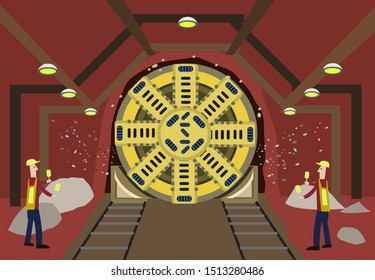 Tunnel boring machine approaches the end of the line underground with two safety workers as guides using hand signals. Editable Clip Art.