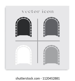 Tunnel flat black and white vector icon. Entrance illustration.