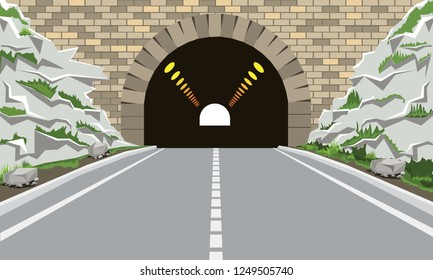 Tunnel and highway with flat and cartoon style. High detailed vector illustration.