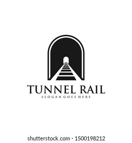 Tunnel Rail Logo Design Inspiration Vector Stock With Silhouette Style