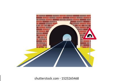 Tunnel road concept. Horizontal landscape with entrance to the tunnel. Vector illustration in flat style isolated on white background