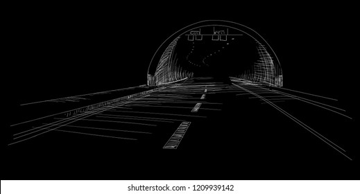 Tunnel sketch isolated on black background, drawing monochrome vector illustration, eps 10