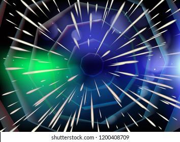 Tunnel with stars speed of light, nebula. Vector