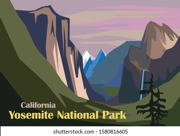 Tunnel View landscape, Yosemite National Park in California, United States
