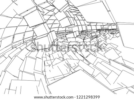 Tunnel Wormhole Digital 3 D Wireframe Tunnel Stock Vector Royalty