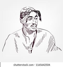 Tupac Shakur vector sketch portrait