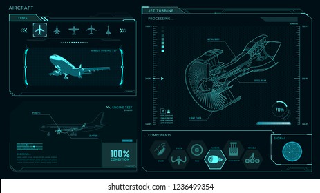 Turbine, airplane, engine interface vector drawing
