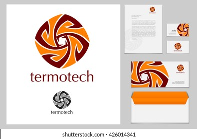 Turbine circular power abstract vector and logo design or template propeller fan of technology company identity symbol concept. Vector stationery business concept.