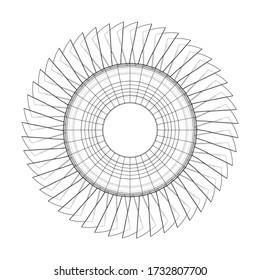 Konzept des Turbinenrads Vektorrendering von 3d. Drahtformat. Die Ebenen der sichtbaren und unsichtbaren Linien sind getrennt