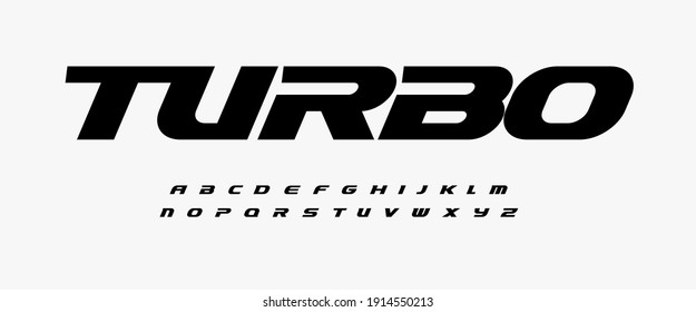 Turbo dynamic alphabet. Heavy and action font, speed type for modern sport logo, speed race headline, dynamic monogram, lettering and typography.Bold italic style letters, vector typographic free ride - Shutterstock ID 1914550213