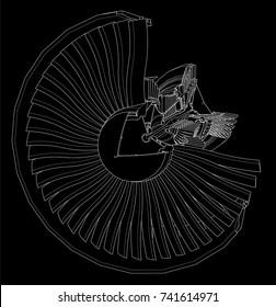 Turbo jet engine aircraft. Vector line illustration