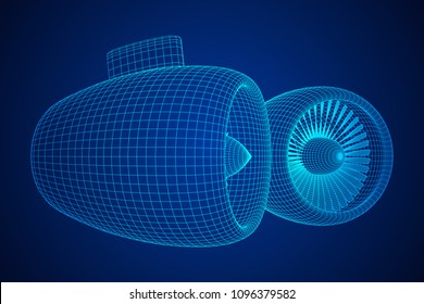 Turbo jet plane engine wireframe low poly mesh vector illustration