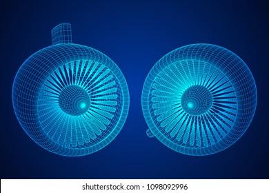 Turbo jet plane engine wireframe low poly mesh vector illustration