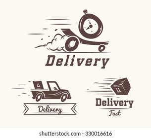 Turbo watch iconic logo design template for delivery service. vector illustration of flying reactive car, box and watch isolated on white background
