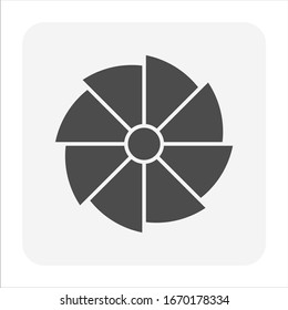 Turbocharger compressor wheel impeller icon. For increase an internal combustion engine's efficiency and power. Use in turbocharger for truck, car, train, aircraft and construction equipment engine.