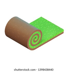Turf roll with a green grass and brown soil with roots and cracks. Detailed vector icon. Isometric view. Unrolled piece of summer lawn. Design for advertising of gardening service. Isolated clipart