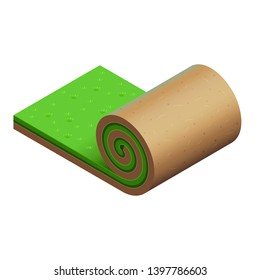 Turf roll with a green grass and light brown soil. Original vector icon. Design for promo of gardening service. Isometric view. Unrolled piece of summer lawn. Simple details. Isolated clipart