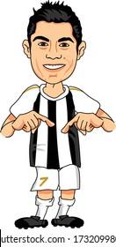 TURIN, ITALY - MAY 15, 2020: Cristiano Ronaldo, an Portuguese professional footballer. Vector Caricature